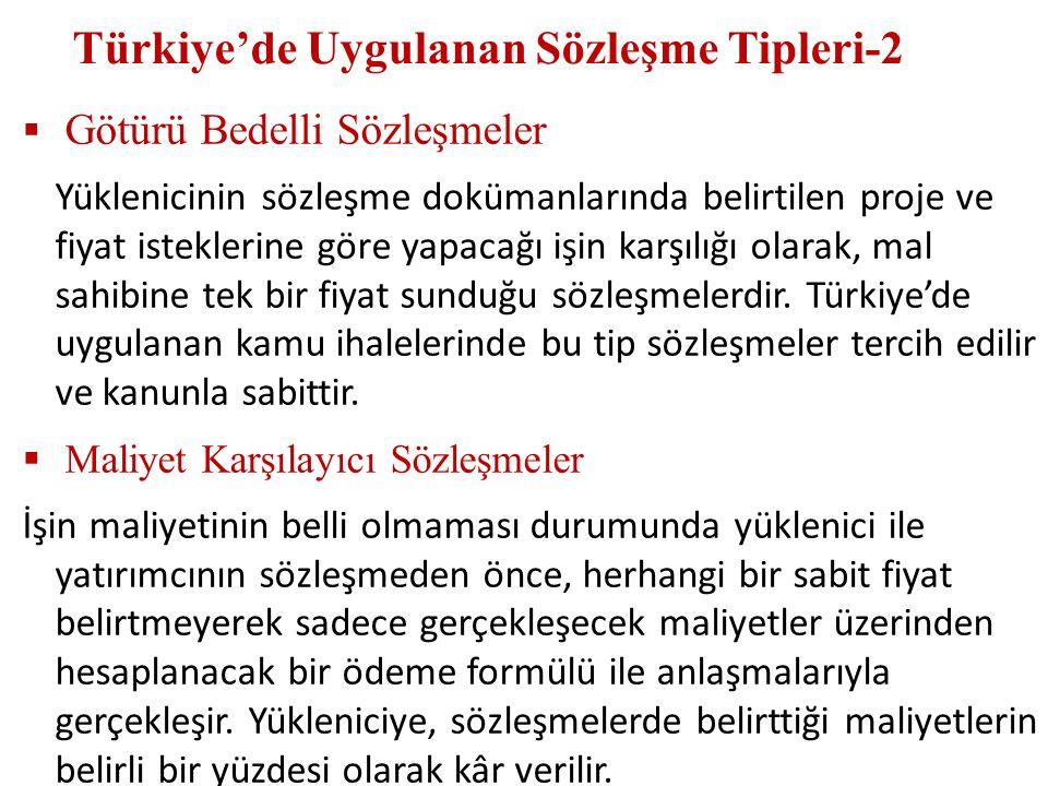 Türkiye'de Uygulanan Sözleşme Tipleri-2