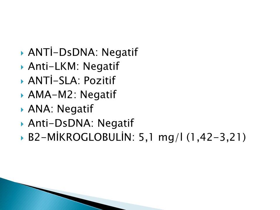 ANTİ-DsDNA: Negatif Anti-LKM: Negatif. ANTİ-SLA: Pozitif. AMA-M2: Negatif. ANA: Negatif. Anti-DsDNA: Negatif.