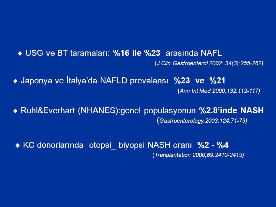  USG ve BT taramaları: %16 ile %23 arasında NAFL
