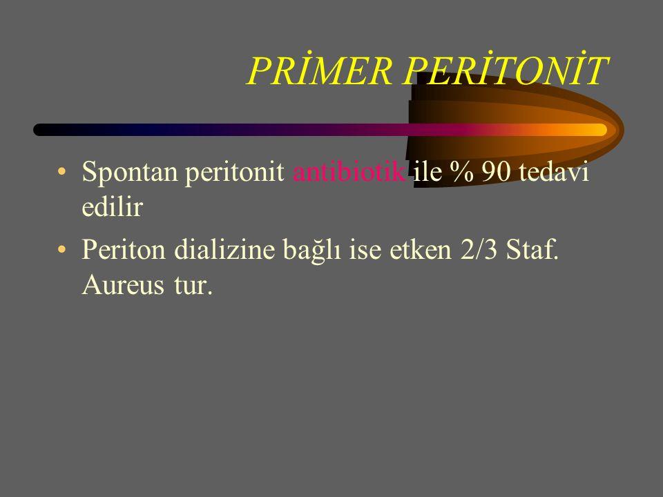 PRİMER PERİTONİT Spontan peritonit antibiotik ile % 90 tedavi edilir