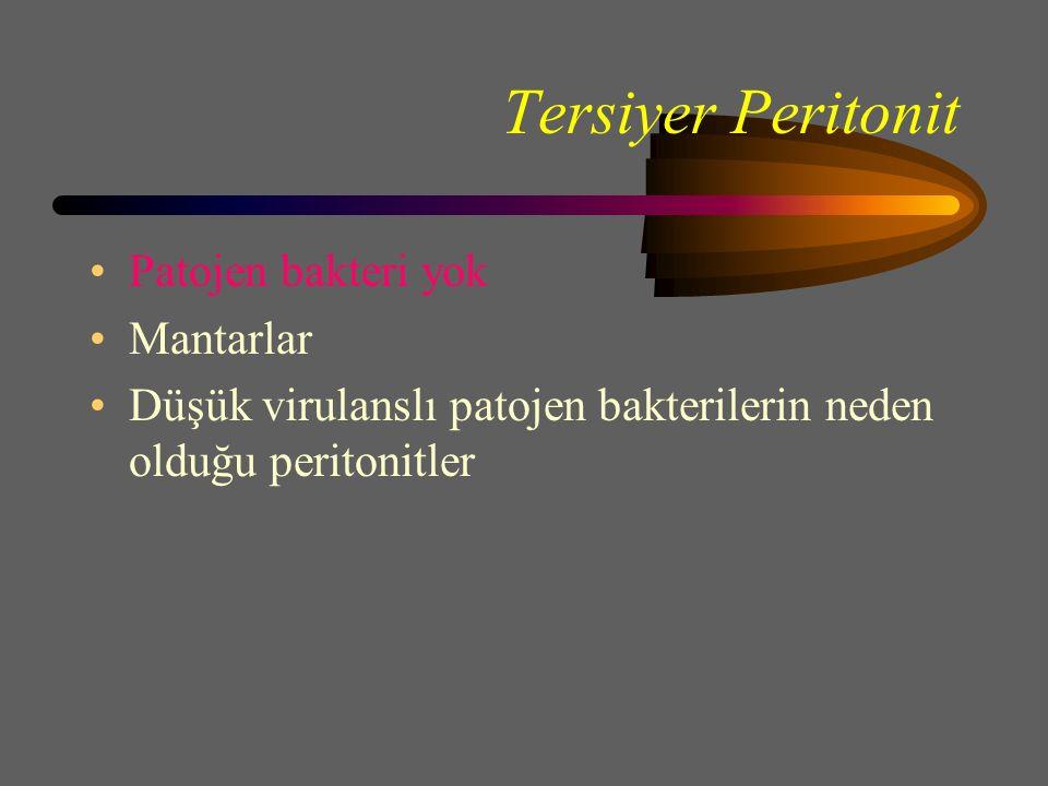 Tersiyer Peritonit Patojen bakteri yok Mantarlar