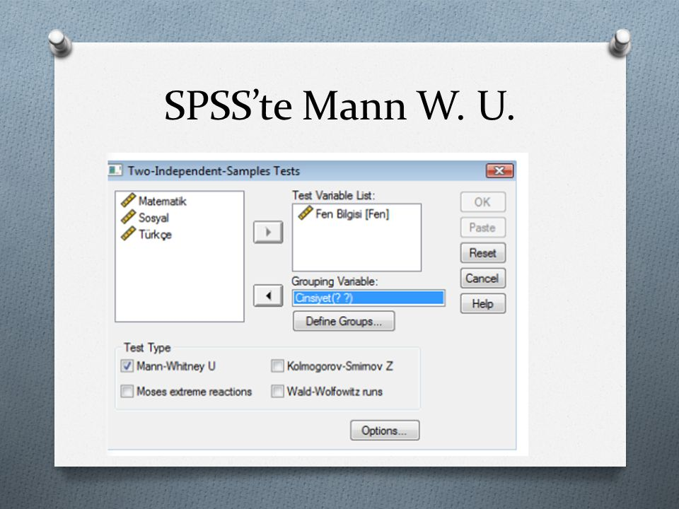 SPSS'te Mann W. U.