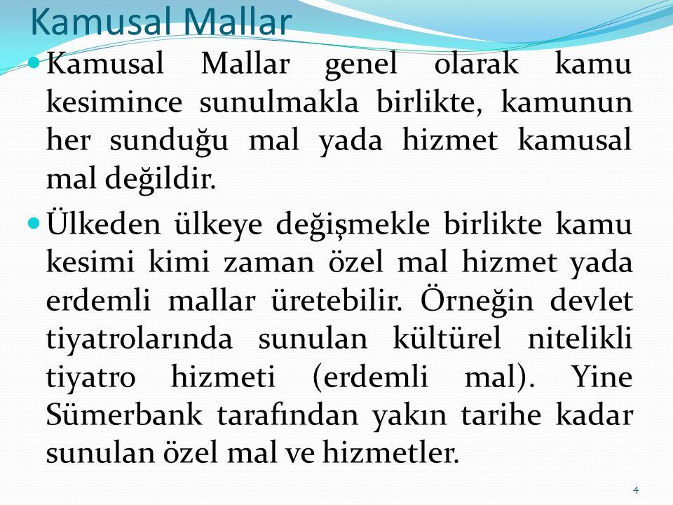Kamusal Mallar Kamusal Mallar genel olarak kamu kesimince sunulmakla birlikte, kamunun her sunduğu mal yada hizmet kamusal mal değildir.