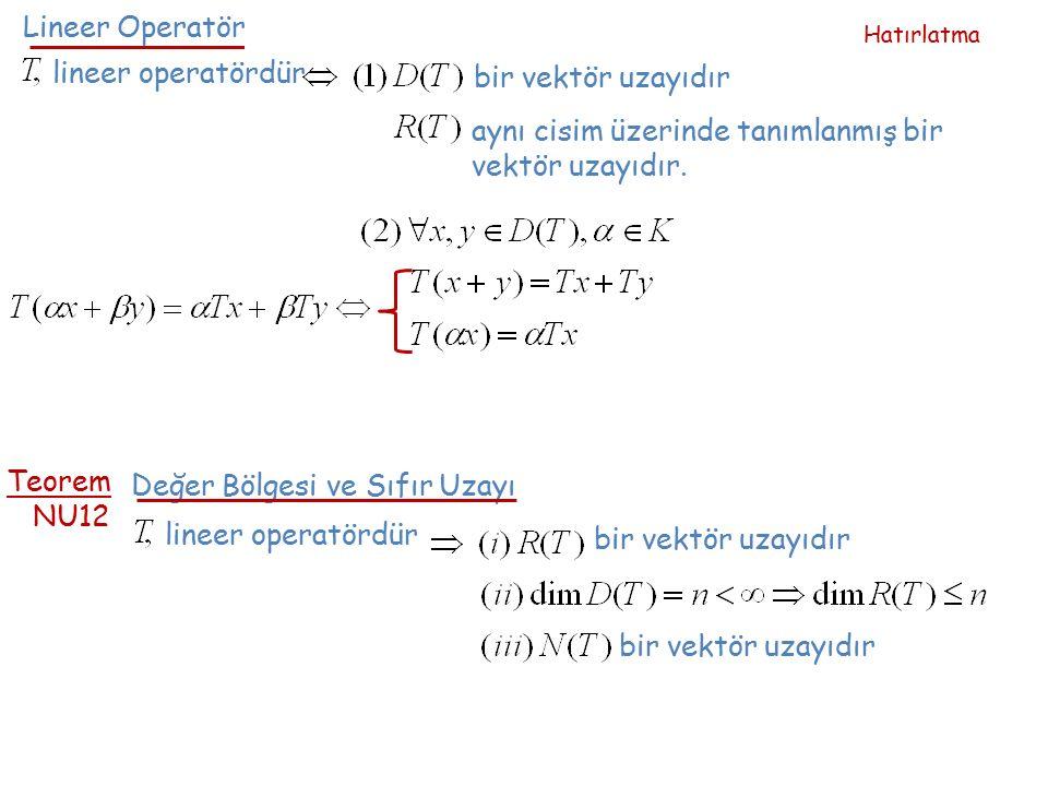 aynı cisim üzerinde tanımlanmış bir vektör uzayıdır.