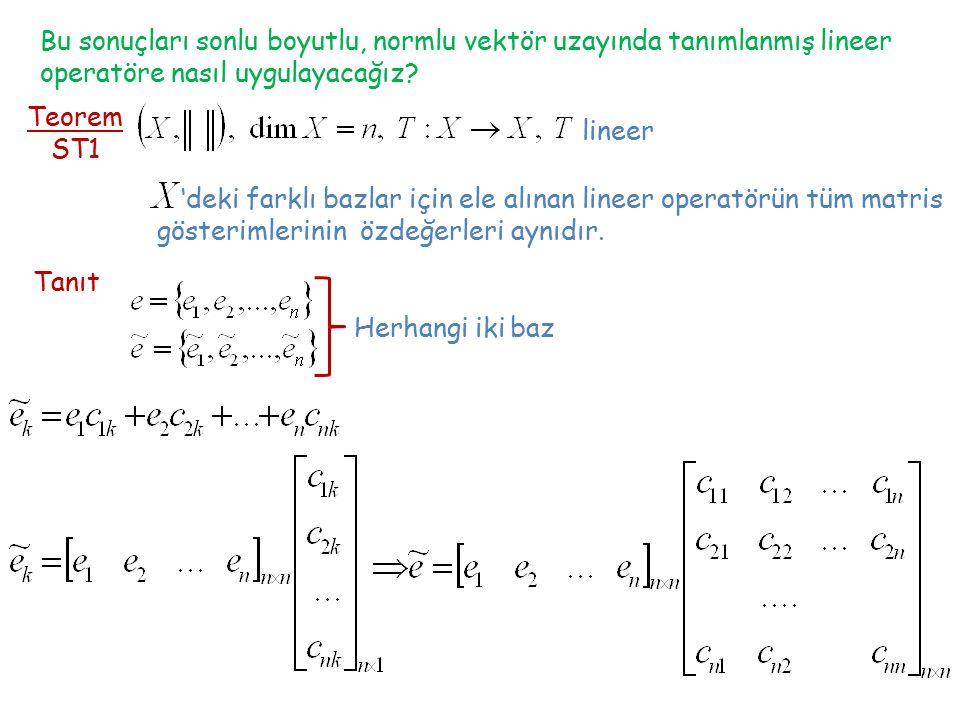 Bu sonuçları sonlu boyutlu, normlu vektör uzayında tanımlanmış lineer