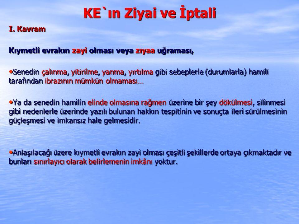 KE`ın Ziyai ve İptali I. Kavram