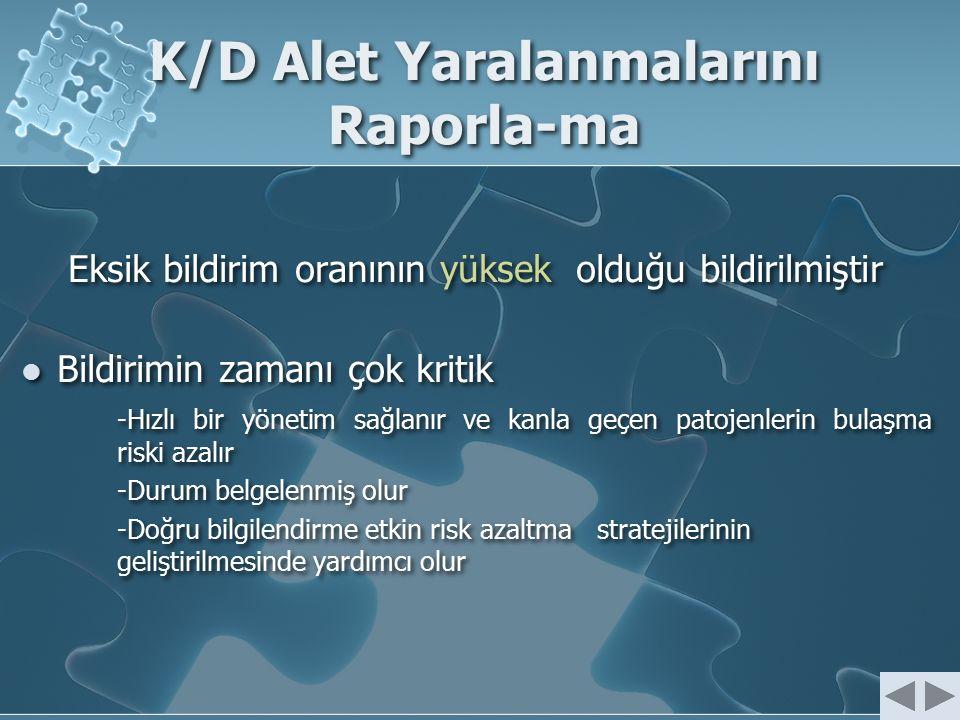 K/D Alet Yaralanmalarını Raporla-ma