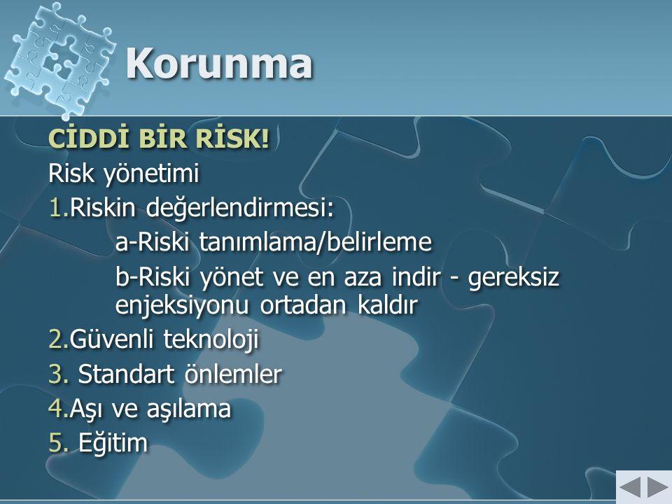 Korunma CİDDİ BİR RİSK! Risk yönetimi 1.Riskin değerlendirmesi: