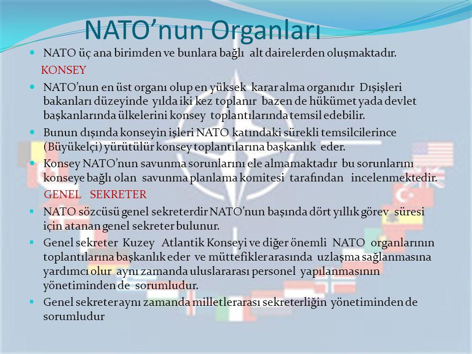NATO'nun Organları NATO üç ana birimden ve bunlara bağlı alt dairelerden oluşmaktadır. KONSEY.