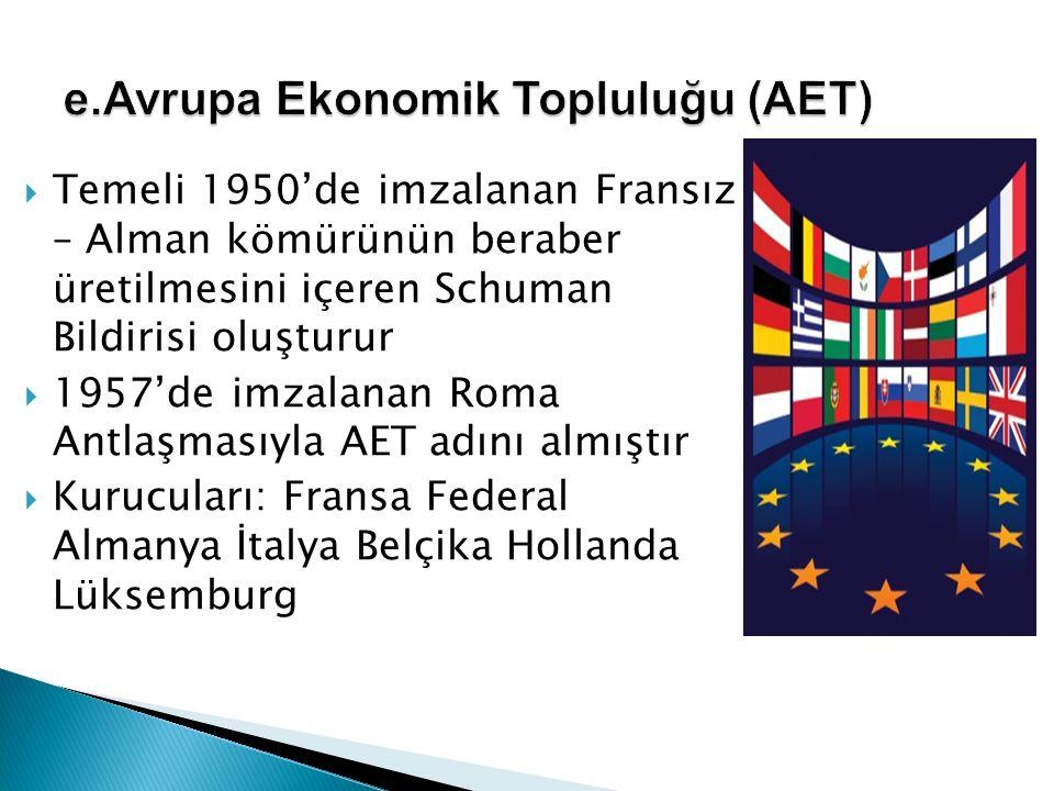 e.Avrupa Ekonomik Topluluğu (AET)