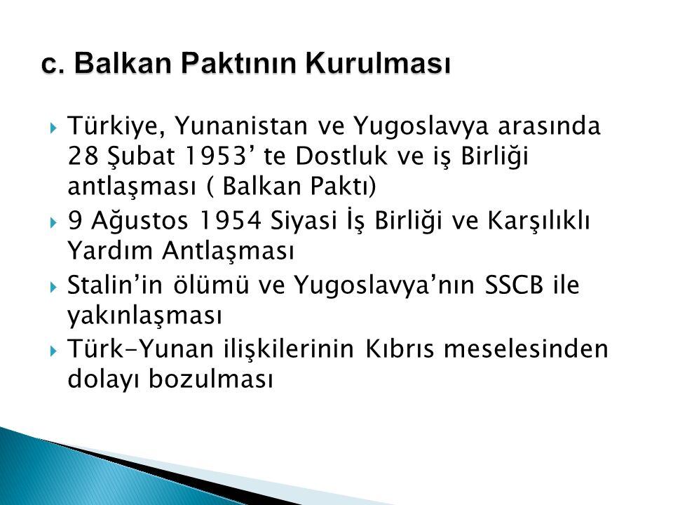 c. Balkan Paktının Kurulması