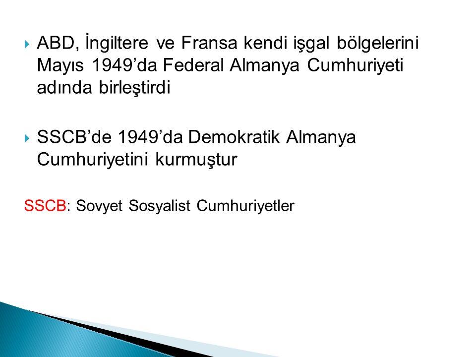 SSCB'de 1949'da Demokratik Almanya Cumhuriyetini kurmuştur