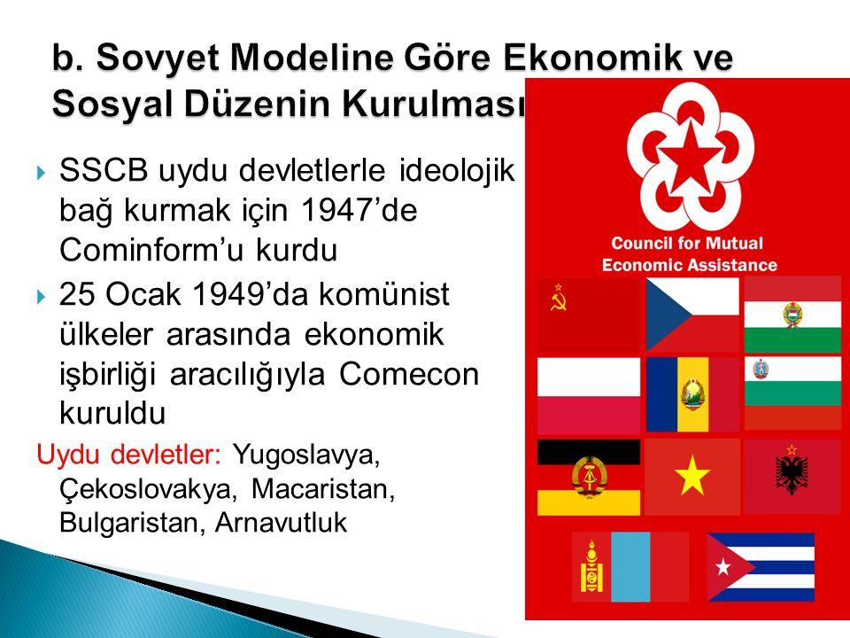 b. Sovyet Modeline Göre Ekonomik ve Sosyal Düzenin Kurulması
