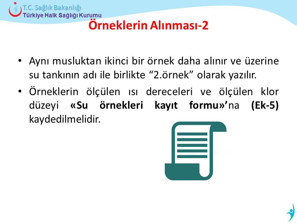 Örneklerin Alınması-2 Aynı musluktan ikinci bir örnek daha alınır ve üzerine su tankının adı ile birlikte 2.örnek olarak yazılır.