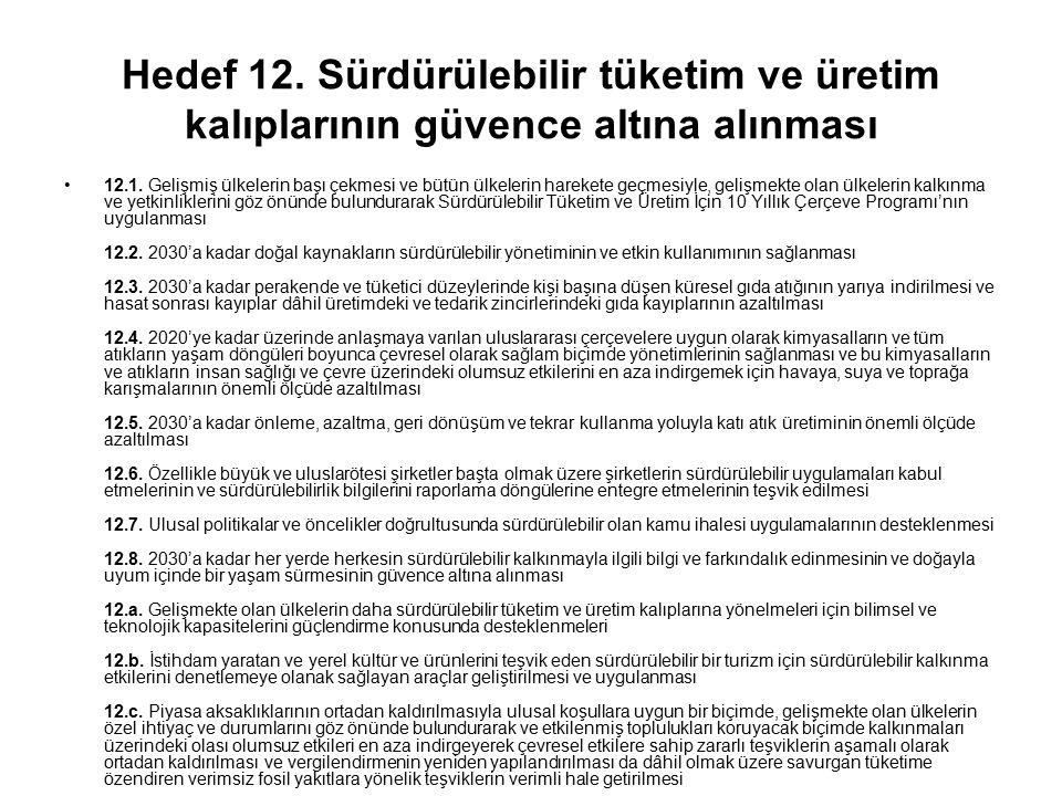 Hedef 12. Sürdürülebilir tüketim ve üretim kalıplarının güvence altına alınması