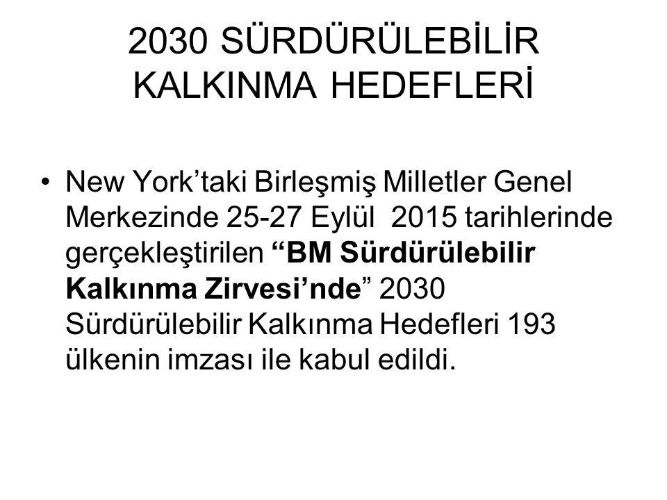 2030 SÜRDÜRÜLEBİLİR KALKINMA HEDEFLERİ