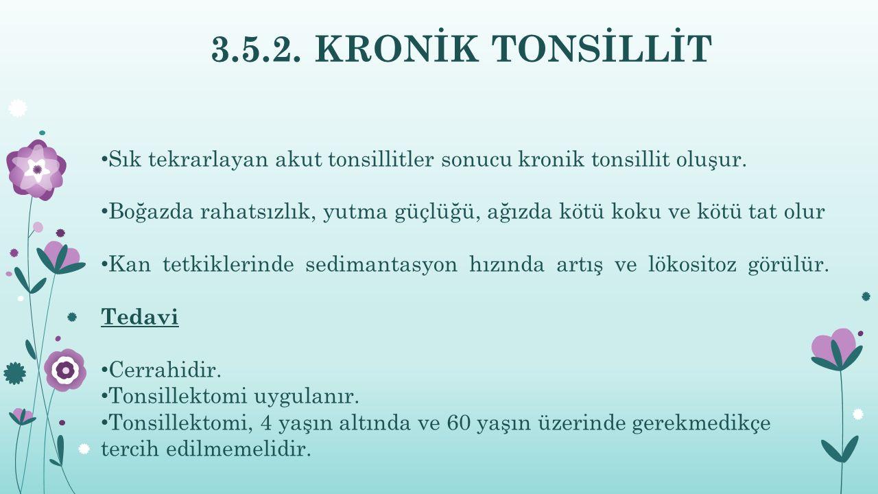 3.5.2. KRONİK TONSİLLİT Sık tekrarlayan akut tonsillitler sonucu kronik tonsillit oluşur.