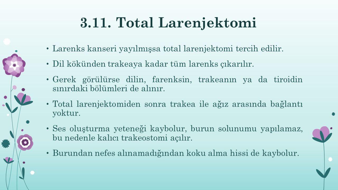 3.11. Total Larenjektomi Larenks kanseri yayılmışsa total larenjektomi tercih edilir. Dil kökünden trakeaya kadar tüm larenks çıkarılır.