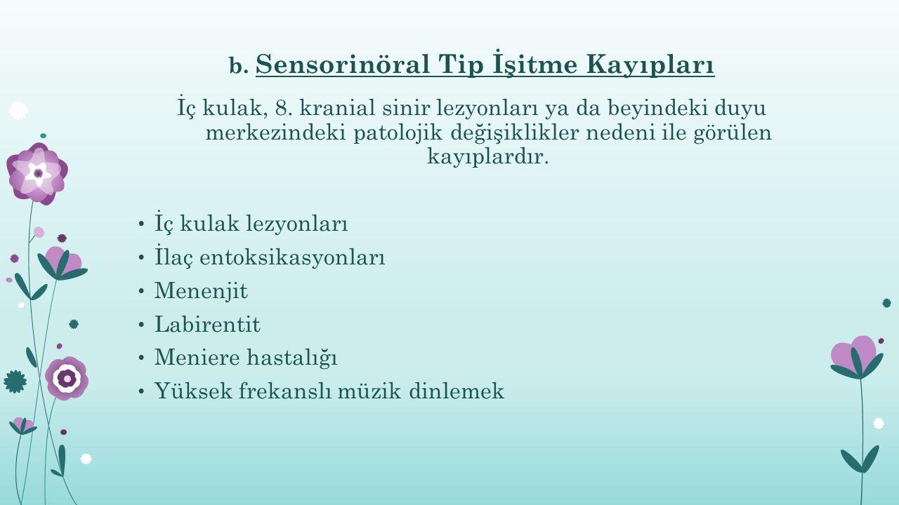 b. Sensorinöral Tip İşitme Kayıpları