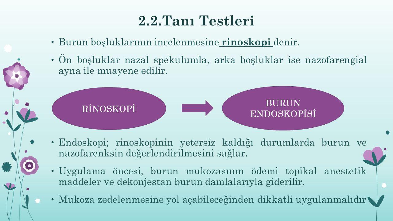 2.2.Tanı Testleri Burun boşluklarının incelenmesine rinoskopi denir.