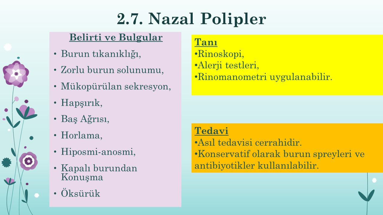 2.7. Nazal Polipler Belirti ve Bulgular Tanı Burun tıkanıklığı,