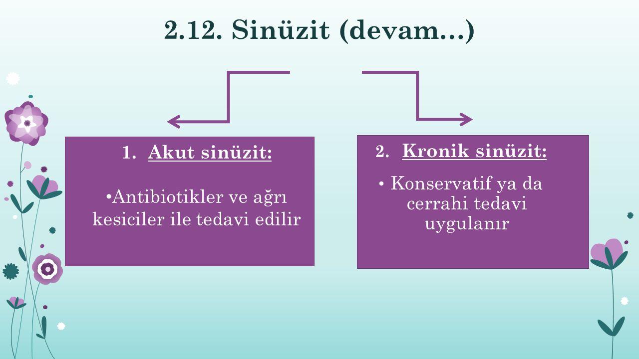 2.12. Sinüzit (devam…) Akut sinüzit: Kronik sinüzit: