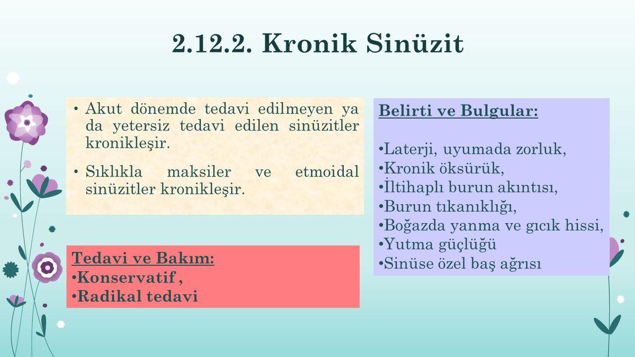 2.12.2. Kronik Sinüzit Akut dönemde tedavi edilmeyen ya da yetersiz tedavi edilen sinüzitler kronikleşir.