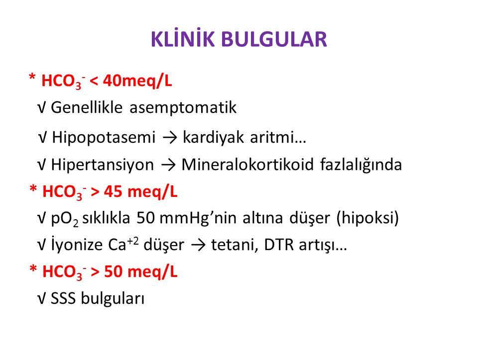 KLİNİK BULGULAR √ Hipopotasemi → kardiyak aritmi… * HCO3- < 40meq/L