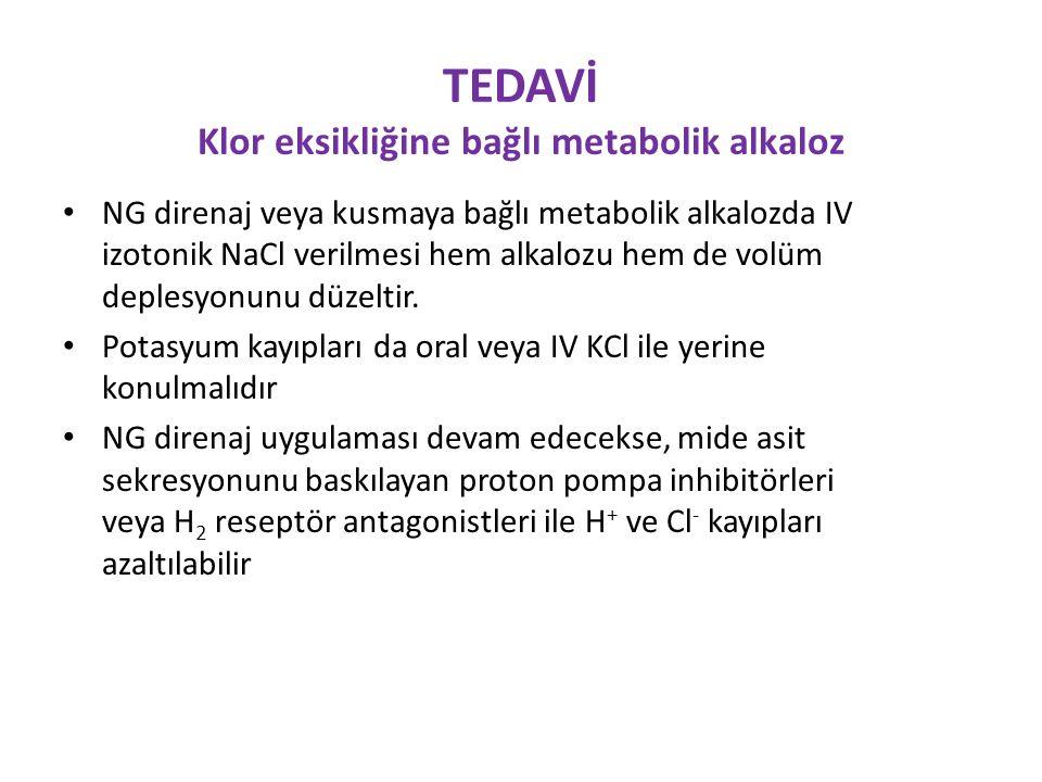 TEDAVİ Klor eksikliğine bağlı metabolik alkaloz
