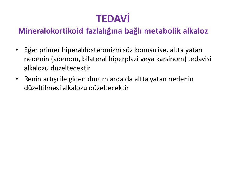 TEDAVİ Mineralokortikoid fazlalığına bağlı metabolik alkaloz