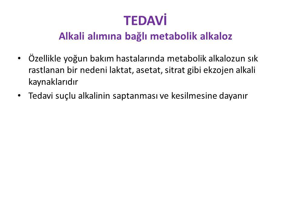 TEDAVİ Alkali alımına bağlı metabolik alkaloz