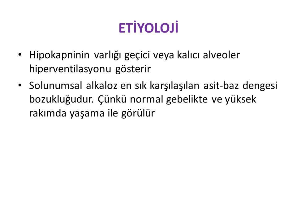 ETİYOLOJİ Hipokapninin varlığı geçici veya kalıcı alveoler hiperventilasyonu gösterir.