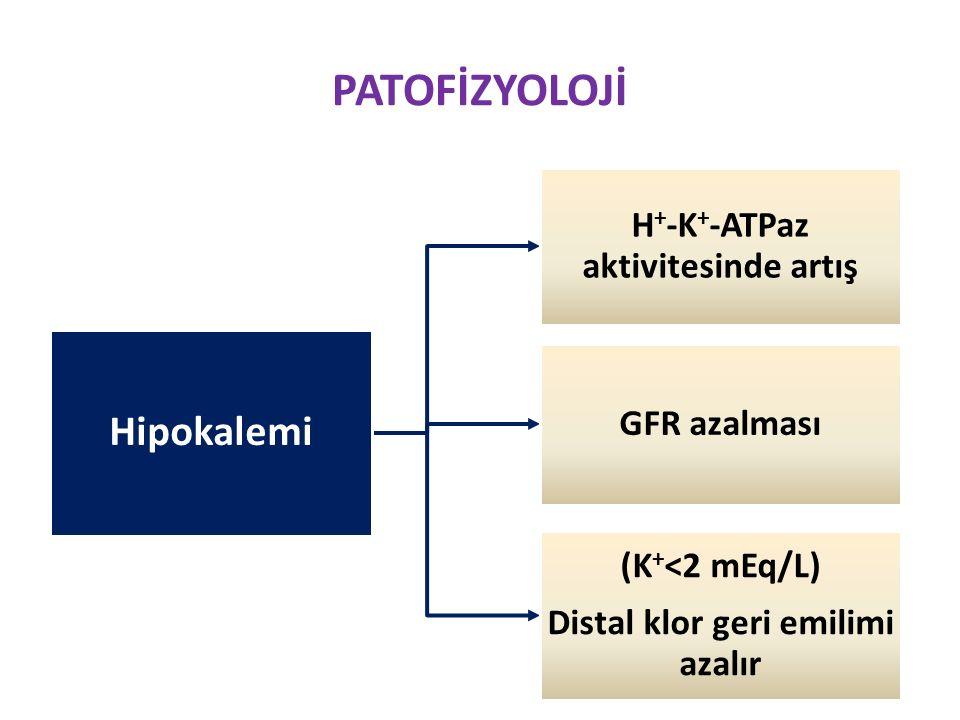 H+-K+-ATPaz aktivitesinde artış Distal klor geri emilimi azalır