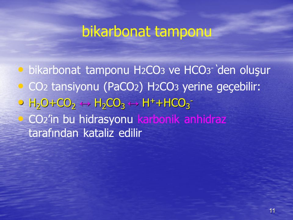 bikarbonat tamponu bikarbonat tamponu H2CO3 ve HCO3- 'den oluşur