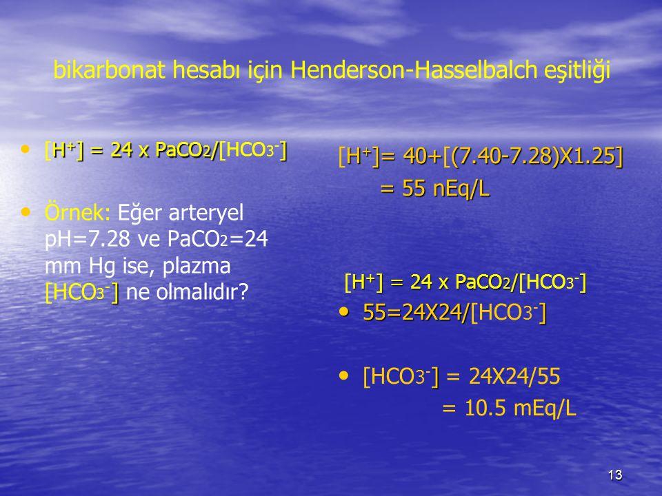 bikarbonat hesabı için Henderson-Hasselbalch eşitliği