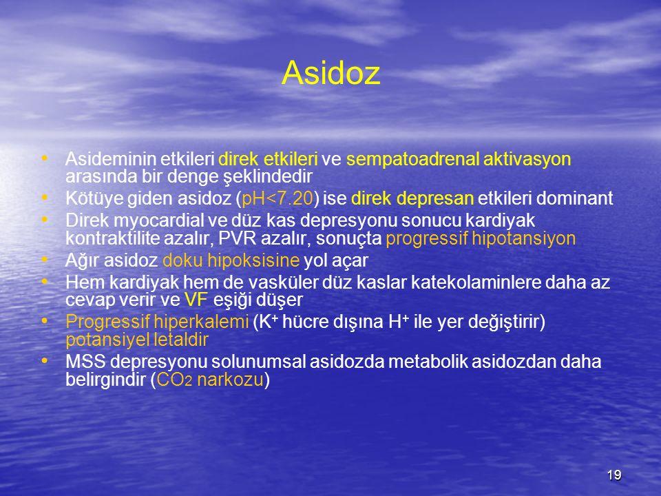 Asidoz Asideminin etkileri direk etkileri ve sempatoadrenal aktivasyon arasında bir denge şeklindedir.