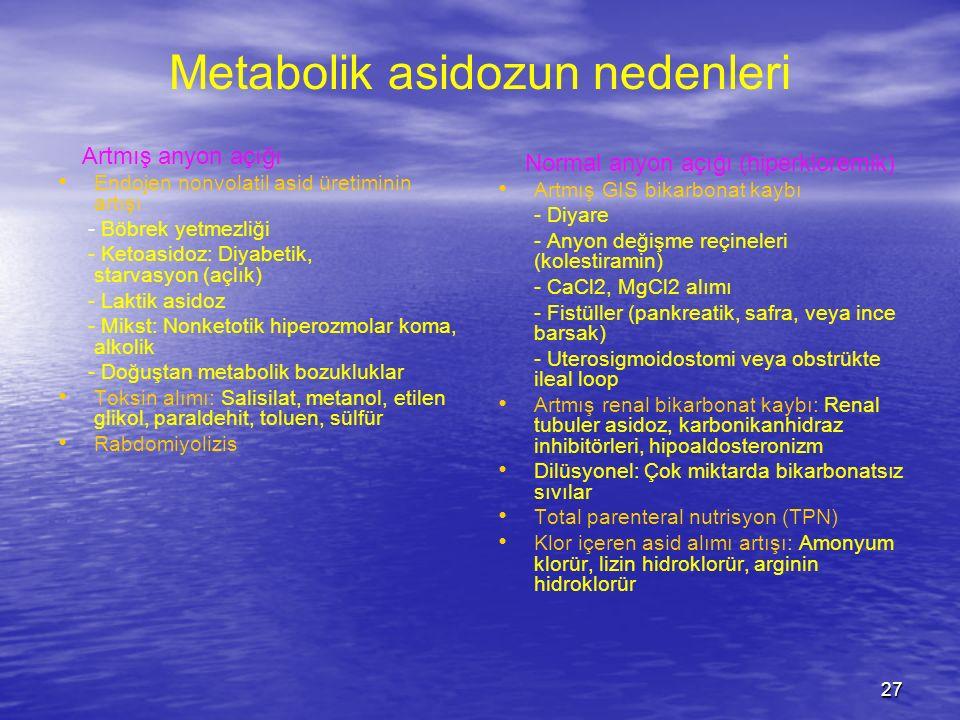 Metabolik asidozun nedenleri