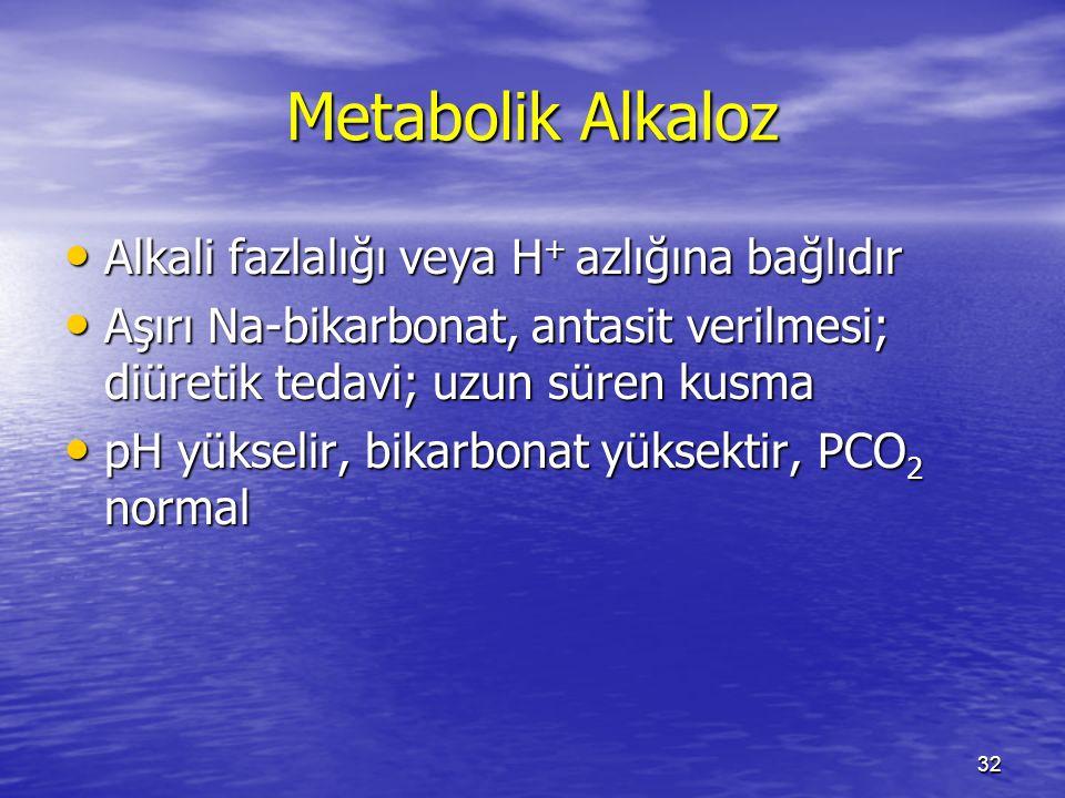 Metabolik Alkaloz Alkali fazlalığı veya H+ azlığına bağlıdır