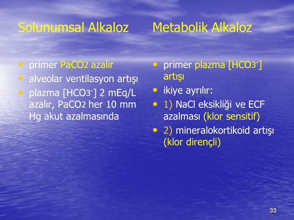 Solunumsal Alkaloz Metabolik Alkaloz primer PaCO2 azalır