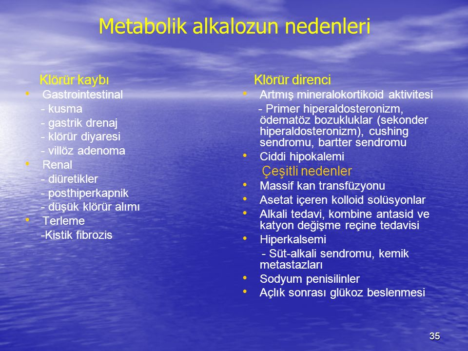Metabolik alkalozun nedenleri