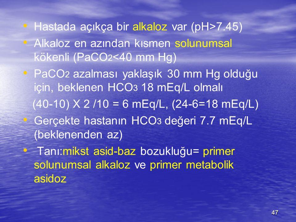 Hastada açıkça bir alkaloz var (pH>7.45)