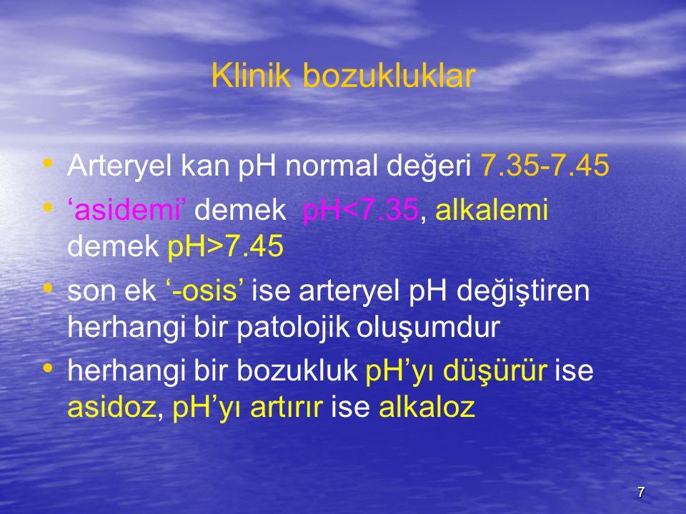 Klinik bozukluklar Arteryel kan pH normal değeri 7.35-7.45