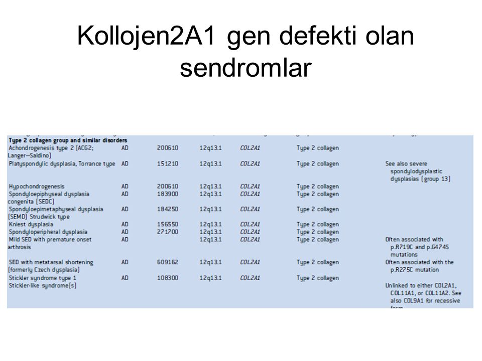 Kollojen2A1 gen defekti olan sendromlar