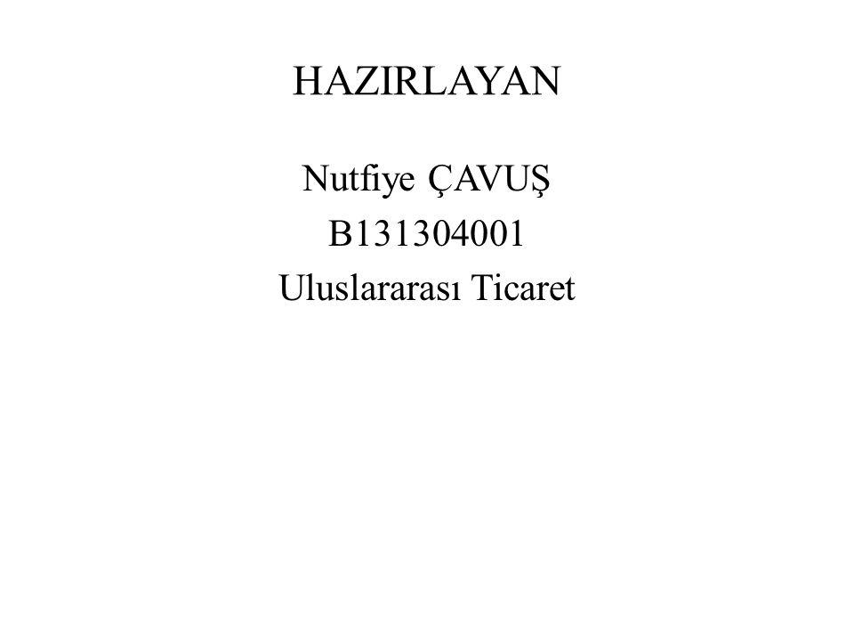 Nutfiye ÇAVUŞ B131304001 Uluslararası Ticaret