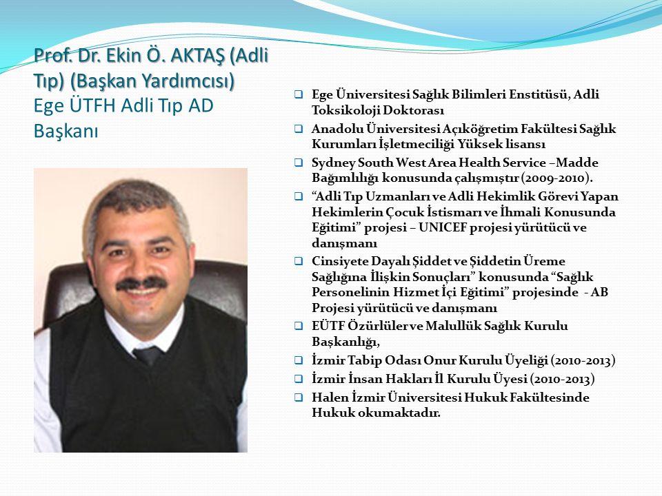 Prof. Dr. Ekin Ö. AKTAŞ (Adli Tıp) (Başkan Yardımcısı) Ege ÜTFH Adli Tıp AD Başkanı