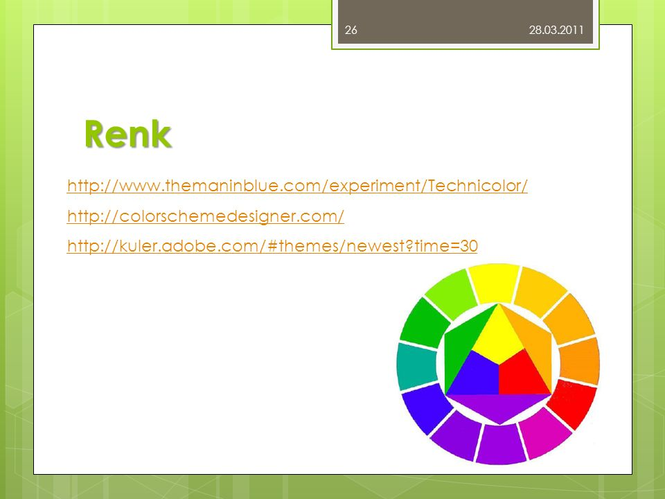 Renk http://www.themaninblue.com/experiment/Technicolor/