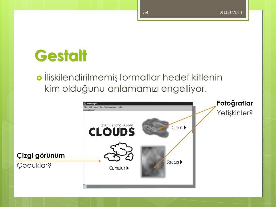 28.03.2011 Gestalt. İlişkilendirilmemiş formatlar hedef kitlenin kim olduğunu anlamamızı engelliyor.