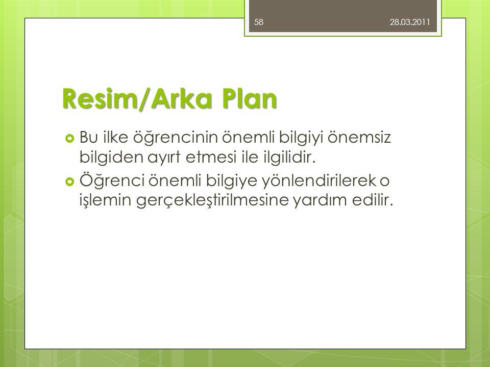 28.03.2011 Resim/Arka Plan. Bu ilke öğrencinin önemli bilgiyi önemsiz bilgiden ayırt etmesi ile ilgilidir.