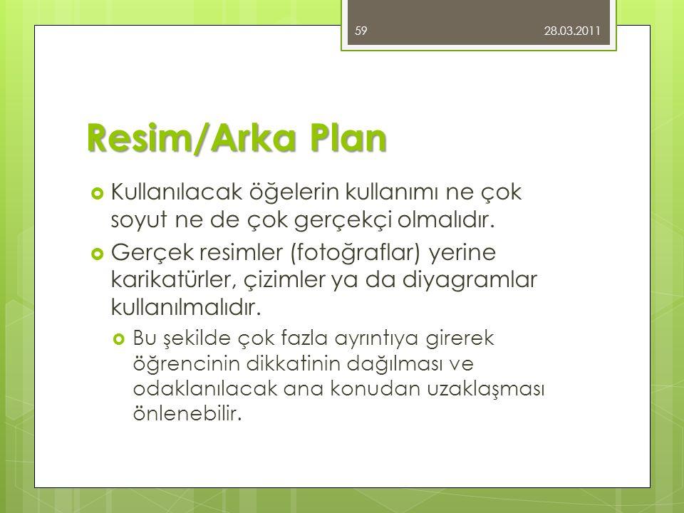 28.03.2011 Resim/Arka Plan. Kullanılacak öğelerin kullanımı ne çok soyut ne de çok gerçekçi olmalıdır.