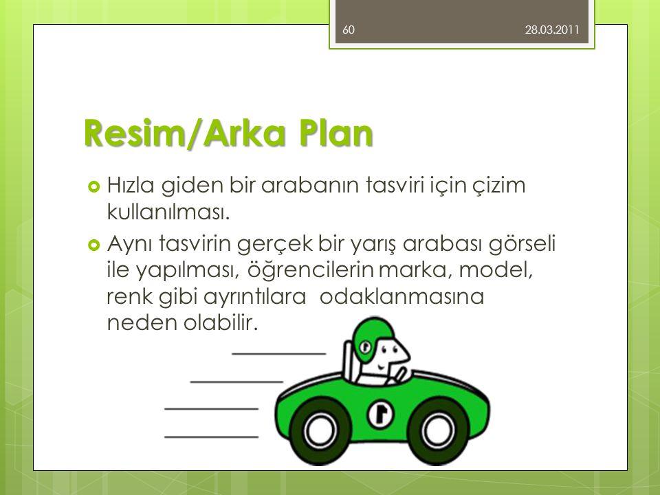 28.03.2011 Resim/Arka Plan. Hızla giden bir arabanın tasviri için çizim kullanılması.